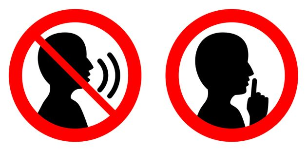 Keep quiet / silent please sign. Crossed person talking / Shhh icon in