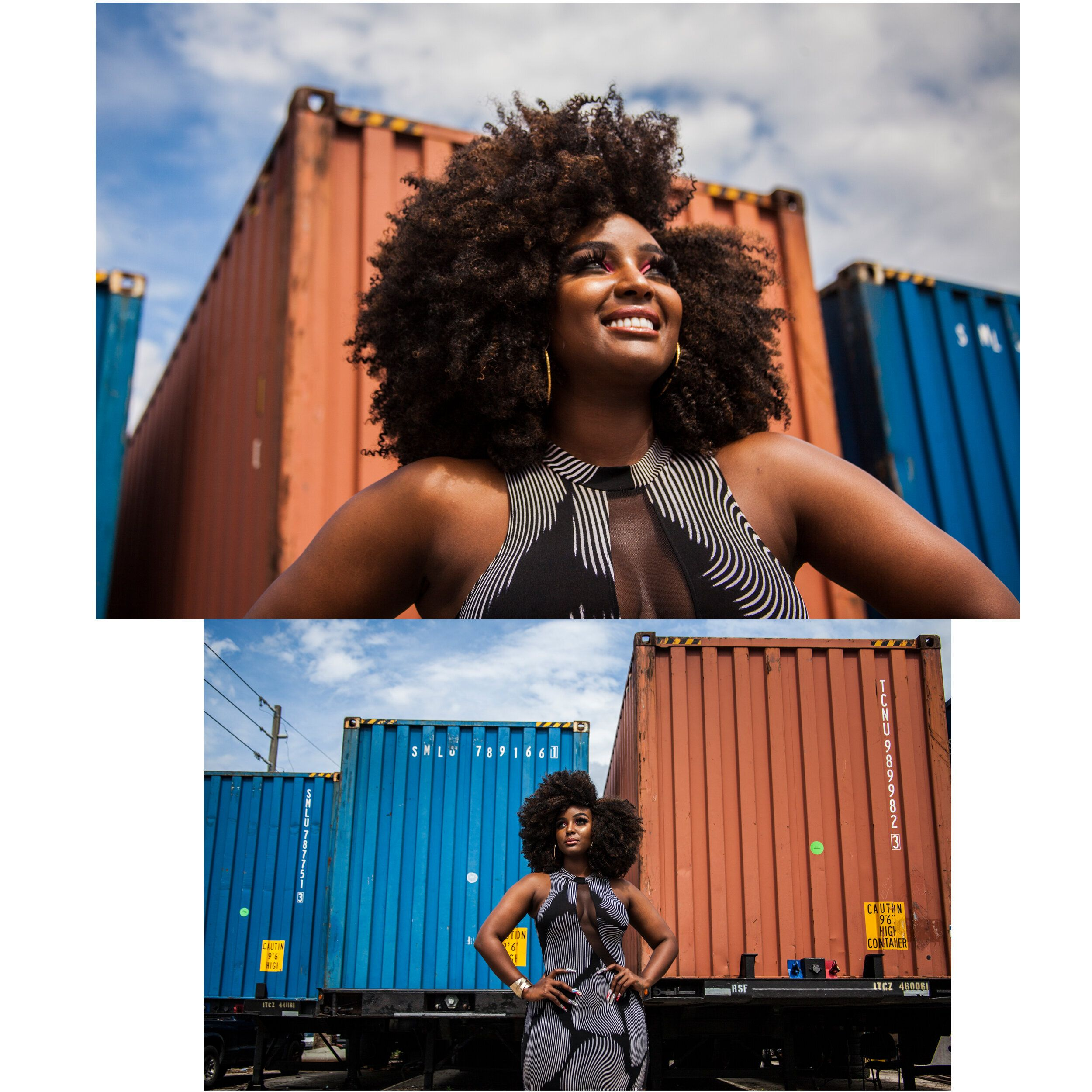 Amara La Negra, a Dominican-American hip-hop artist stands and poses in Miami, Florida on Aug. 29, 2019.