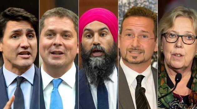 De gauche à droite: Justin Trudeau, Andrew Scheer, Jagmeet Singh, Yves-François Blanchet,...