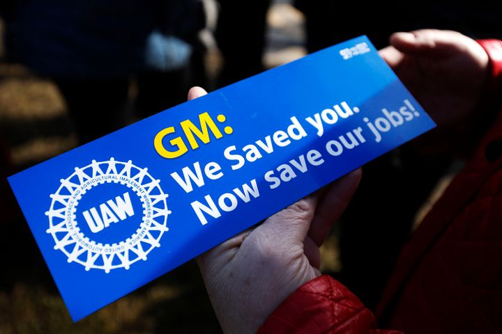 United Auto Workers members hold a prayer vigil at the General Motors Warren Transmission Operations Plant on Feb. 22, 2019,