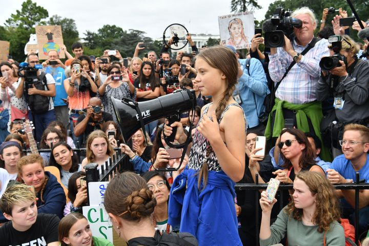 Greta Thunberg speaks at a climate protest outside the White House.