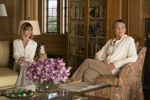 Holly Hunter plays Rhea Jarrell, left, with Cherry Jones as Nan