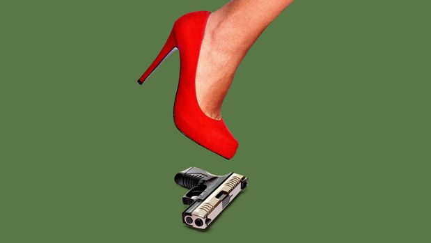 heel about to step on a handgun