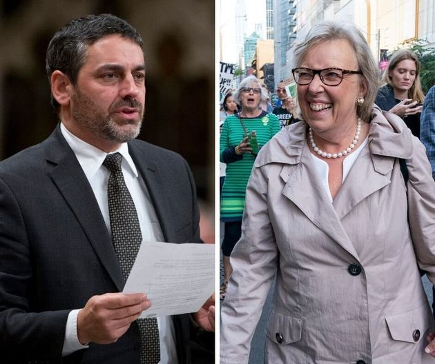 Green candidate Pierre Nantel (left) and Green Leader Elizabeth May (right).