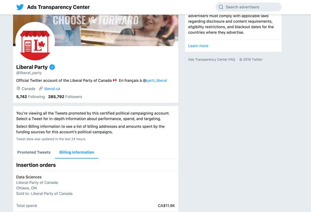 A screenshot of the Liberal Party's page on Twitter's Ads Transparency