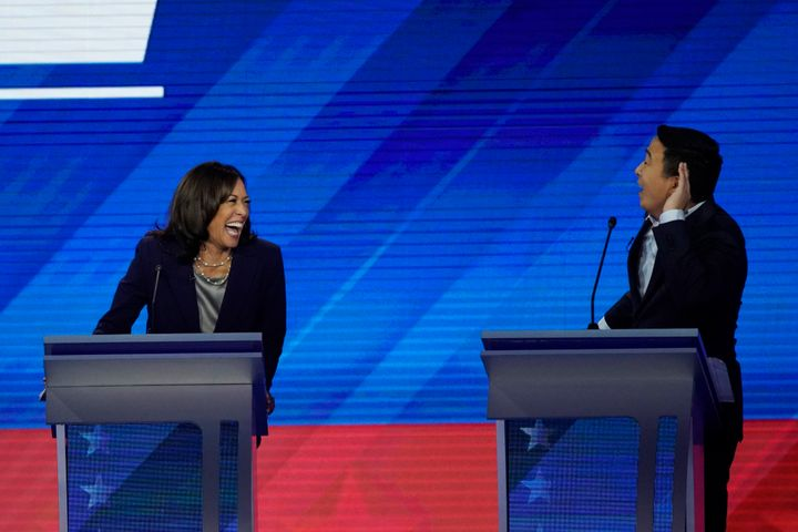 Sen. Kamala Harris (D-Calif.) reacts to entrepreneur Andrew Yang on Sept. 12, 2019, during a Democratic presidential primary
