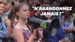 Greta Thunberg manifeste devant la Maison