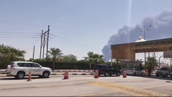 This AFPTV screen grab from a video shows smoke billowing from an Aramco oil facility in Abqaiq.