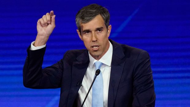 Former Texas Rep. Beto O'Rourke responds to a question Thursday, Sept. 12, 2019, during a Democratic presidential primary debate hosted by ABC at Texas Southern University in Houston. (AP Photo/David J. Phillip)