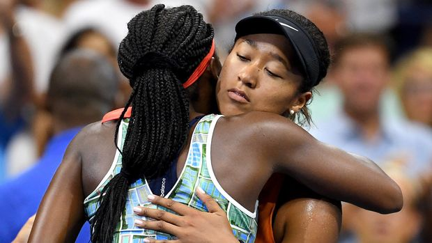 NEW YORK, NEW YORK - AUGUST 31: Cori Gauff of the United States and Naomi Osaka of Japan hug following their Women's Singles third round match on day six of the 2019 US Open at the USTA Billie Jean King National Tennis Center on August 31, 2019 in Queens borough of New York City. (Photo by Emilee Chinn/Getty Images)