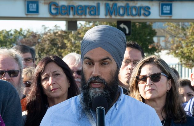 NDP leader Jagmeet Singh making a campaign announcement in Oshawa, Ont. on Sept. 14,