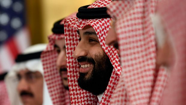 Saudi Arabia's Crown Prince Mohammed bin Salman smiles as he listens during his meeting with President Donald Trump during a working breakfast on the sidelines of the G-20 summit in Osaka, Japan, in Osaka, Japan, Saturday, June 29, 2019. (AP Photo/Susan Walsh)