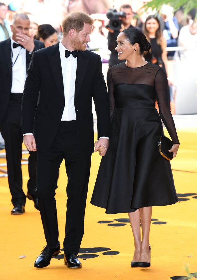 The Duke of Sussex and The Duchess of Sussex at the European Premiere of The Lion King, Odeon Cinema,...