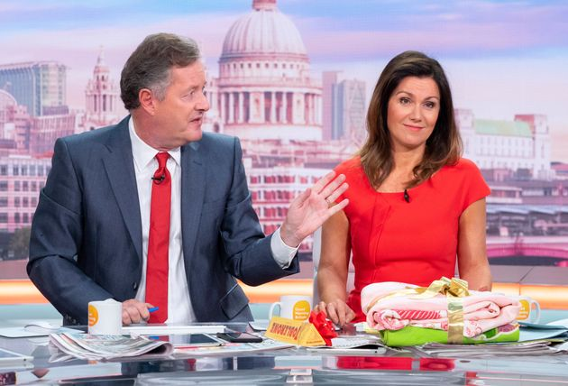 Piers Morgan and Susanna Reid on the set of Good Morning