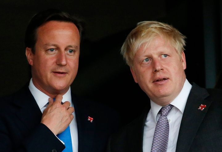 Then-British Prime Minister David Cameron and Boris Johnson, then the mayor of London, pictured in July 2012.