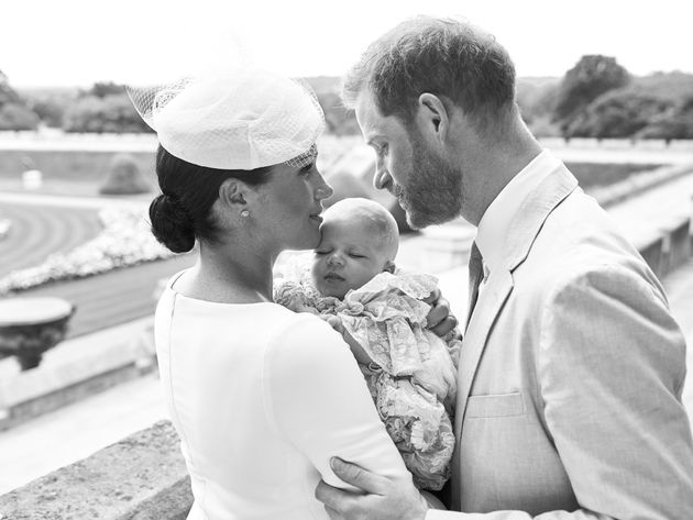 The Duke and Duchess of Sussex are seen during the christening ceremony for their son, Archie Harrison...