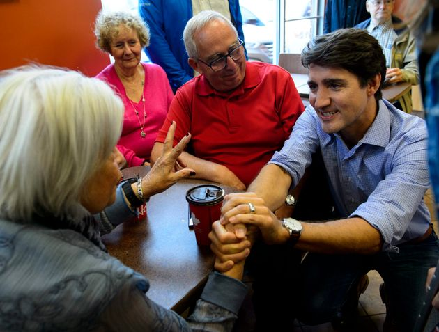 Le chef libéral JustinTrudeau à Saint-Félix-de-Valois, le samedi 14