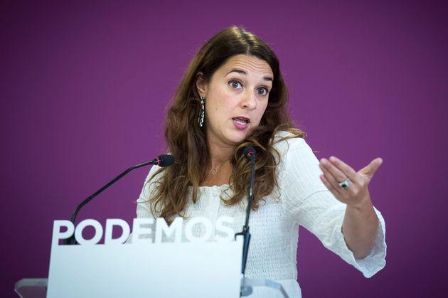 GRAF5106 MADRID, 2/9/2019.- La portavoz de Podemos, Noelia Vera, durante la rueda de prensa que ofreció...