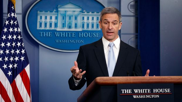 """FILE - In this Aug. 12, 2019, file photo, Acting Director of United States Citizenship and Immigration Services Ken Cuccinelli, speaks during a briefing at the White House, in Washington. Cuccinelli suggested Tuesday, Aug. 13, in an interview with NPR that the line from a poem inscribed on the Statue of Liberty should be changed to """"give me your tired and your poor who can stand on their own two feet and who will not become a public charge"""" from  """"your tired, your poor, your huddled masses yearning to breathe free."""" (AP Photo/Evan Vucci, File)"""