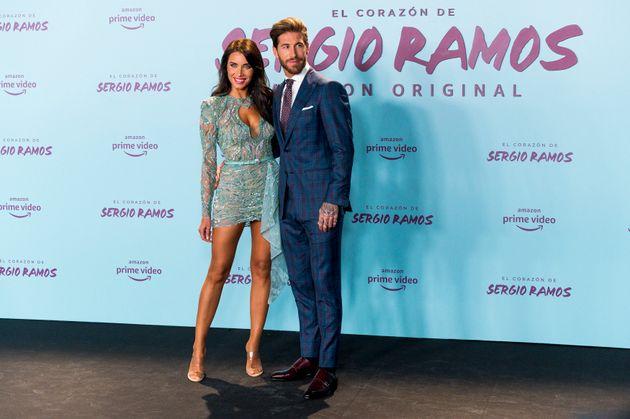 Pilar Rubio y Sergio Ramos durante la presentación del