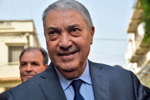 Former Algerian prime minister Ali Benflis, who heads the Avant Garde of Freedom party, arrives at a...
