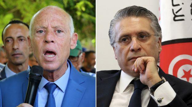 Kais Saied, ici le 7 septembre à Gafsa, et Nabil Karoui, le 2 août à Tunis, revendiquent tous deux leur...
