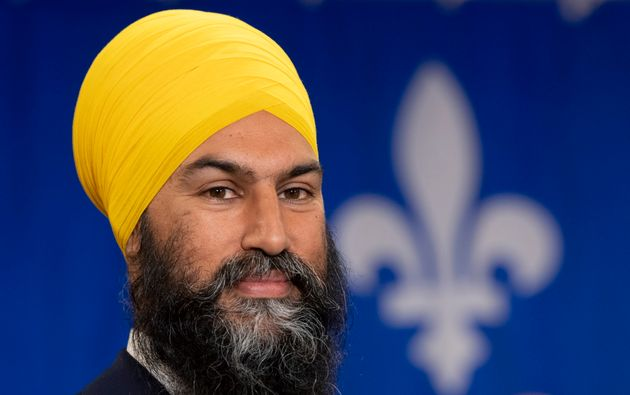 NDP leader Jagmeet Singh is seen during a campaign speech in Sherbrooke, Que. on Sept. 15,