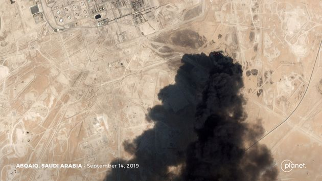 A satellite image shows an apparent drone strike on an Aramco oil facility in Abqaiq, Saudi Arabia September...