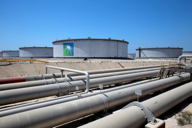 General view of Aramco tanks and oil pipe at Saudi Aramco's Ras Tanura oil refinery and oil terminal...