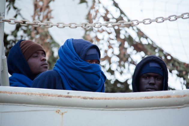 Migrants disembark from the Spanish ship 'Cantabria' in the harbour of Salerno, Italy, 05 November 2017....