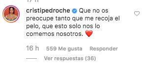 Captura de pantalla del Instagram de Cristina