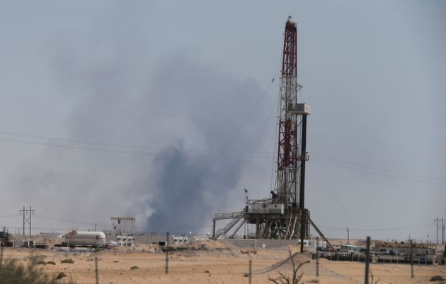 Smoke is seen following a fire at Aramco facility in the eastern city of Abqaiq, Saudi Arabia, September...