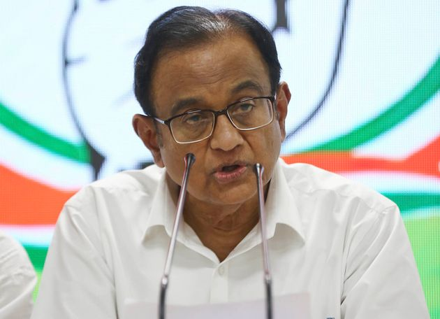 Congress party leader and former Indian finance minister P Chidambaram addresses the media at the Congress...