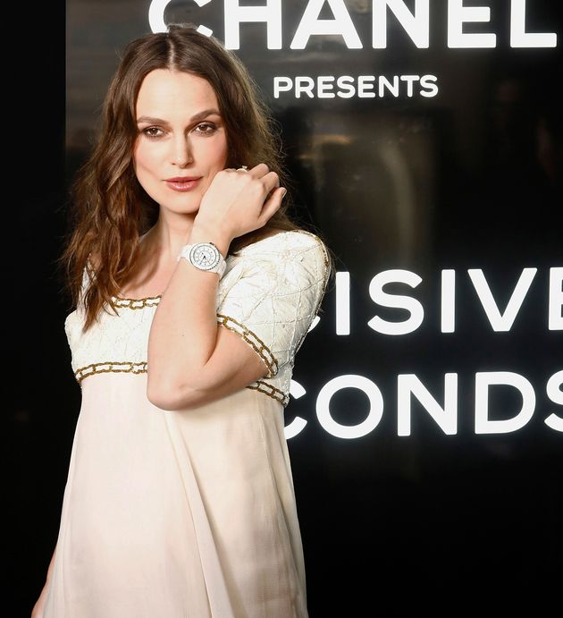 PARIS, FRANCE - MAY 02: Keira Knightley attends the Chanel J12 Watch Launch at Place Vendome on May 02,...