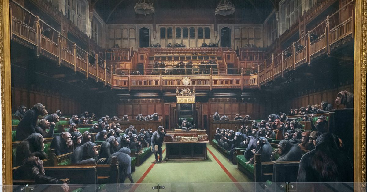 Bansky Work Depicting MPs As Chimpanzees To Go Under The Hammer