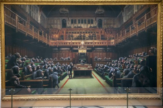 The painting 'Devolved Parliament' by the graffiti artist Banksy, which is going on show at Bristol