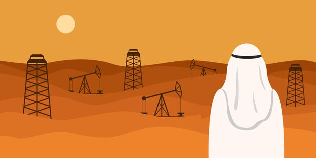 Man in white kandura looking at oil field in desert. Vector illustration.
