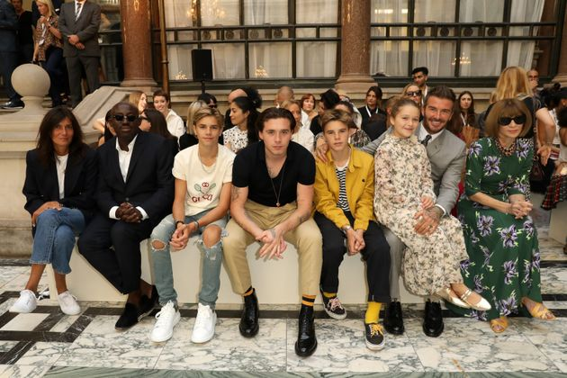 (L-R) Emmanuelle Alt, Edward Enninful, Romeo Beckham, Brooklyn Beckham, Cruz Beckham, Harper Beckham,...