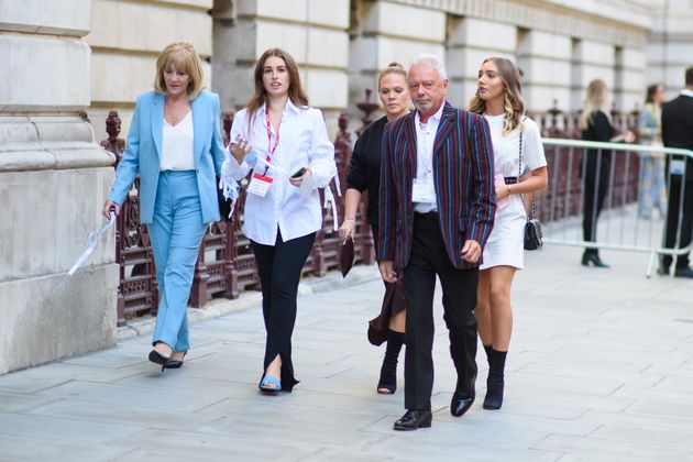 Jackie Adams, Anthony Adams and Louise Adams arriving at the Victoria Beckham catwalk show, during Spring/Summer...