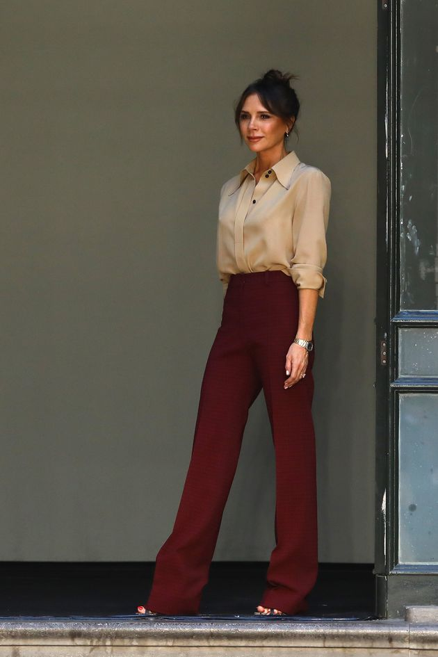 Victoria Beckham on the runway at the Victoria Beckham show during London Fashion