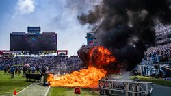 Fire Erupts On The Field At NFL