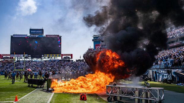 A pyrotechnic accident lights a part of the field on fire before an NFL football game between the Tennessee Titans and the Indianapolis Colts, Sunday, Sept. 15, 2019, in Nashville, Tenn. (Austin Anthony/Daily News via AP)