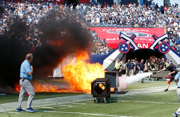 Fire Erupts On The Field At Tennessee Titans