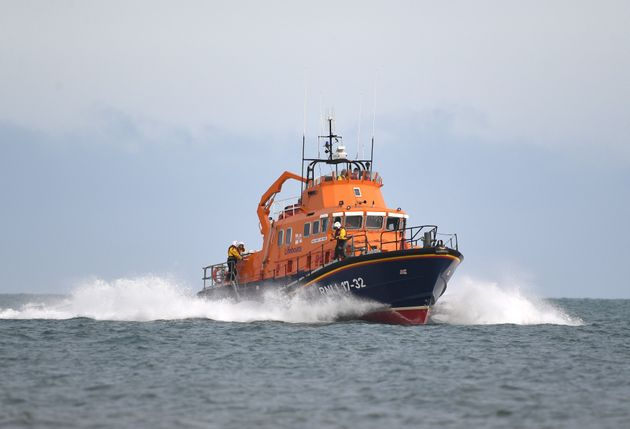 WEYMOUTH, ENGLAND - JULY 31: Severn-class lifeboat RNLI Ernest and Mabel takes part in a demonstration...