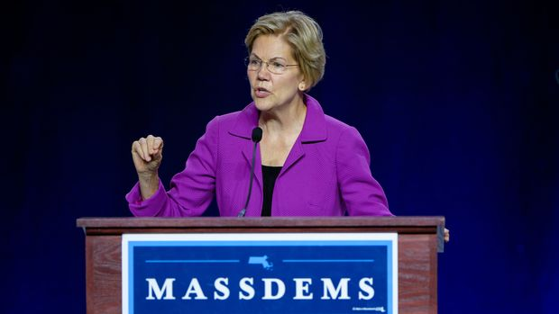 SPRINGFIELD, MASSACHUSETTS, UNITED STATES - 2019/09/14: Presidential Candidate Elizabeth Warren speaks at the Massachusetts Democratic Party Convention in Springfield. (Photo by Preston Ehrler/SOPA Images/LightRocket via Getty Images)