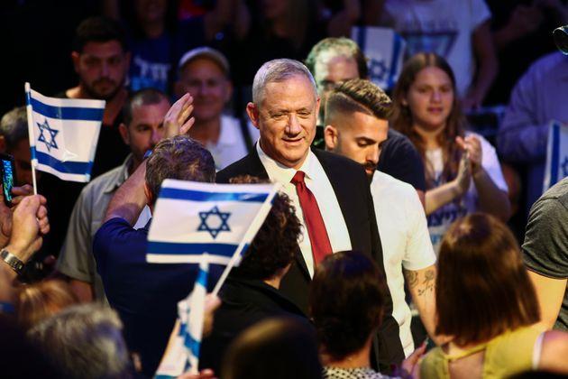 Benny Gantz, líder de Azul y Blanco, el pasado 15 de septiembre en un mitin, en Tel
