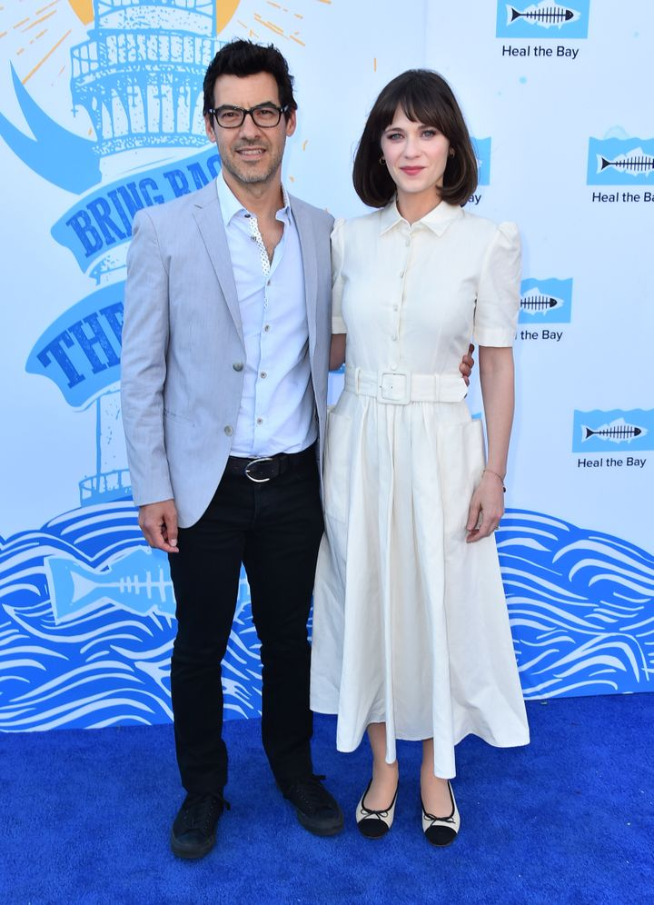 Jacob Pechenik and actress Zooey Deschanel attend an event together in May 2018.