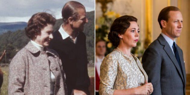 "Left: Queen Elizabeth II and Prince Philip at Balmoral, Scotland in 1972. Right: Olivia Colman and Tobias Menzies in Season 3 of ""The Crown."""