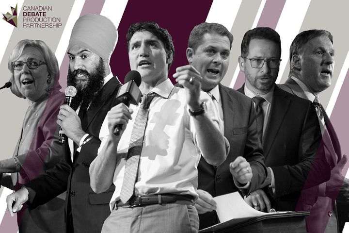 From left to right: Green Party Leader Elizabeth May, NDP Leader Jagmeet Singh, Liberal Leader  Justin Trudeau, Conservative Leader Andrew Scheer, Bloc Québécois Leader Yves-François Blanchet and People's Party of Canada Leader Maxime Bernier.