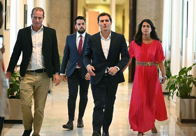 Albert Rivera, a su llegada para la reunión con Pablo